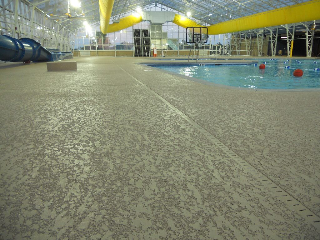commercial pool deck with spray texture