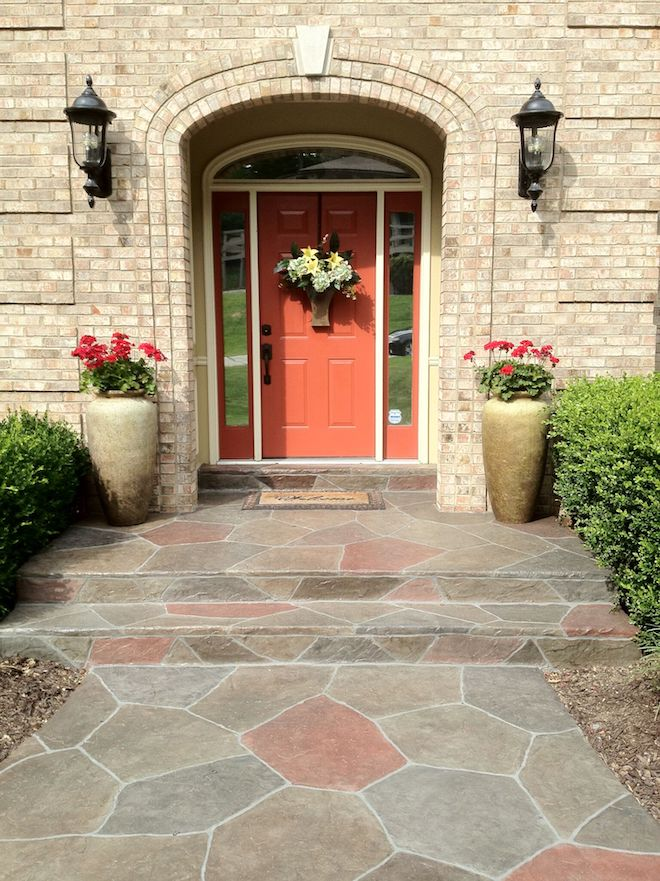 front entryway with stamped overlays