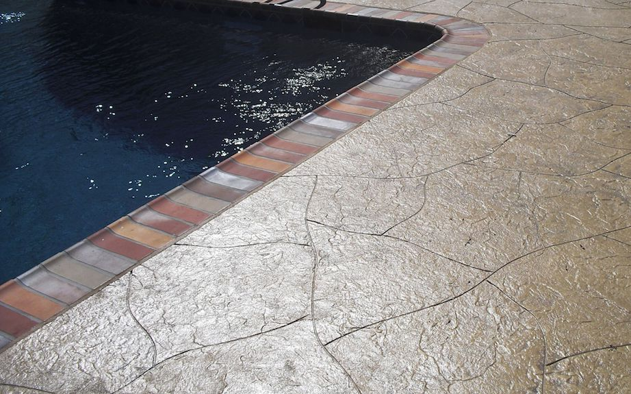 pool deck surround with stamped application